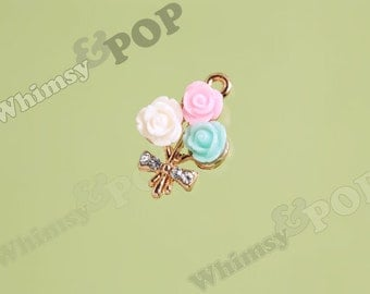 1 - Gold Tone Bouquet Pink Blue White Flower Crystal Rhinestone Pendant Charm, Flower Charm, 20mm x 15mm (3-5C)