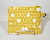 Yellow Honeycomb Small Zipper Pouch
