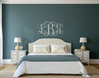Monogram Wall Decal - Monogram Silver Wall Decal - Wedding Monogram Decal - Vine Monogram Decal Decor -Personalized Wall Decal Monogram