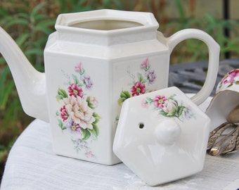 Charming ARTHUR WOOD and SONS Six-Sided Teapot, Cream and Floral, Embossed, England