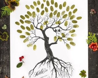 Rustic Wedding Thumbprint Tree Guest Book Printable