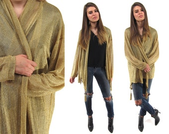 Vintage 90s Moschino Couture Metallic Jacket, Draped Gold Cardigan, Liquid Gold Cardigan, Disco, Designer Δ size: one size