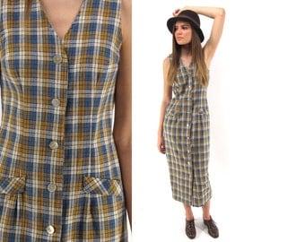 Vintage 90s Plaid Dress, Linen Midi Dress, Minimalist Dress, Sheath Dress, Preppy, Grunge Dress Δ size: xs /sm