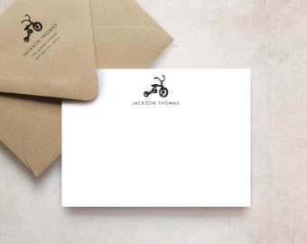 Tricycle Note Cards, Personalized Stationery for Kids