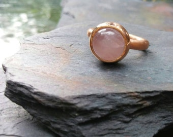 Rose Quartz Brushed Hammered Ring Band. SIZE 6