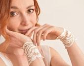Off white gold French lace bridal cuffs wrist bands - boho wedding