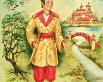 Original oil painting, Asian decor, Asian prince, Chinoiserie