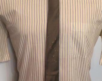 On Sale Vintage MENS 50s-60s Baskin brown silk skinny tie with migrating birds emblem