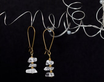 Antique Brass Earrings Drop Earrings Clear Stones