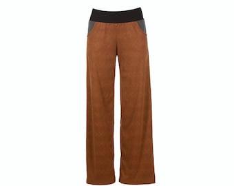 20% SALE Vegan suede culottes, stretch wide leg pants with pockets, brown pants S-XXL, plus size pants