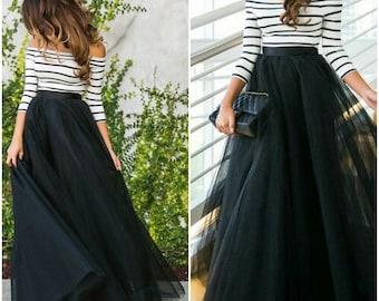 Ready to ship - Full Length, Floor length Tulle Skirt, Extra Full Skirt- Ivory Tulle Skirt, Black Tulle skirt, Engagement Dress