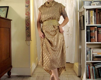 Vintage Gold Striped Maxi Dress with Intricately Embroidered and Beaded Belt . Size Medium / Large