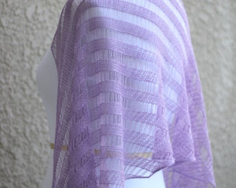 Knitted wedding stole, wedding shawl, bridesmaids shawl, knitted shawl in lilac lavender, bridal shawl, gift for her