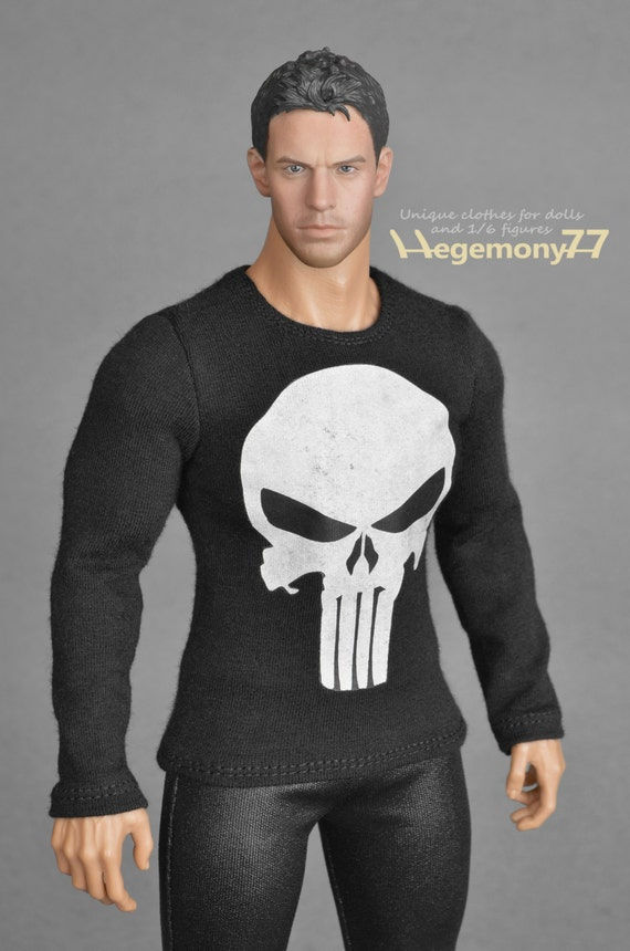 1/6th scale black XXL Punisher skull T-shirt for: Hot Toys TTM 20 size bigger action figures and male fashion dolls