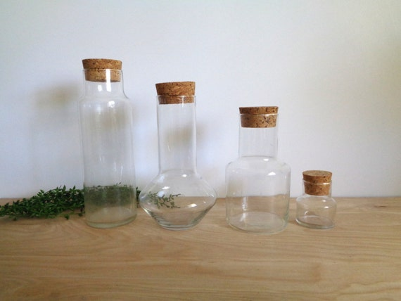 clear glass apothecary jars with cork lids by whiteelephantco. Black Bedroom Furniture Sets. Home Design Ideas