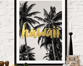 Hawaii Art Print Poster, Hawaii Travel Poster, Palm Tree Art, Hawaii Print, Destination Wedding, Bridesmaid Gift, Gift for Her, Gift for Him