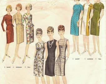 Great Vintage 1960s Vogue 3022 Proportioned Princess Shift Sheath Dresses in Short Sewing Pattern B32
