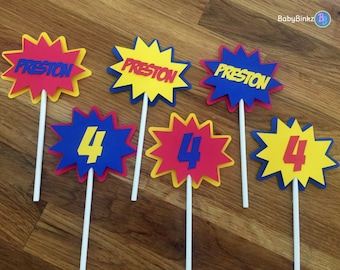 Die Cut Personalized Super Hero Cupcake Toppers - comics inspired custom personalized name birthday party decorations wedding comic phrases
