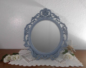 Large Oval Mirror Ornate Blue Baroque Shabby Chic Distressed Beach Cottage Coastal Seaside Nautical French Country Farmhouse Home Decor Gift