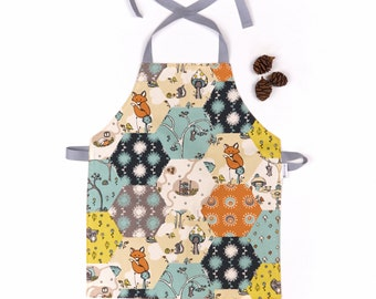 Childrens Craft Apron Organic Cotton Birch Fabrics Forest Animals Preschooler Apron