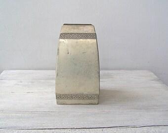 Vintage Square Pewter Vase, Aztec Geometric Distressed Table Vase Silver Metal Flower Bouquet Dry Branches Modernist Minimalist Display Vase