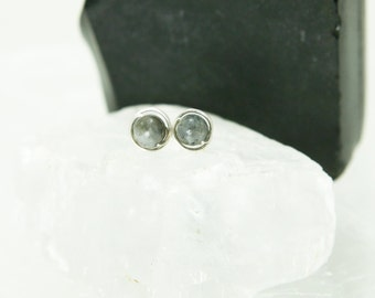 Small Labradorite Stud Earrings - Sterling Silver Wire Wrapped Gray Gemstone Rounds - Magic, Meditation, Healing
