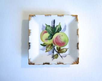 Hand Painted Square Lefton China Plate Summer Fruit with Gold Rim