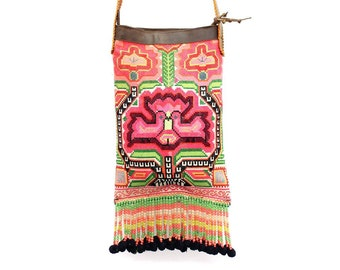 Beautiful Leather Cross Body Bag With Tassel Vintage HMONG Fabric  (BG028L.3C2)