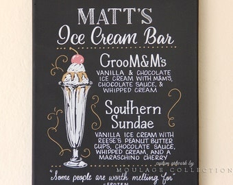 "Custom menu, ink drawing on 11"" x 14"" canvas, chalkboard art inspired, Ice cream bar"
