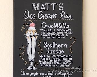 "Custom ice cream bar menu, 11"" x 14"" canvas, ink drawing, chalkboard art inspired"