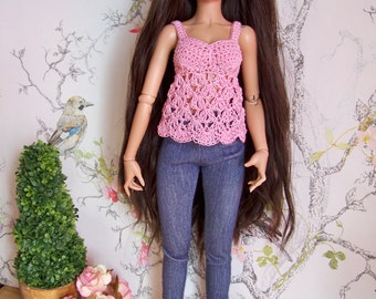 Pink Cami Crochet Top Only for Minifee Msd Mnf
