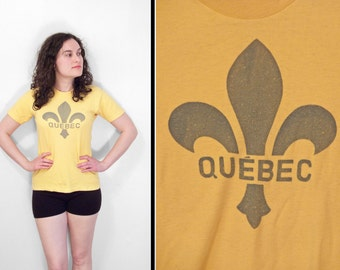70s QUEBEC Shirt Yellow Small Tee Fleur de lis Canada