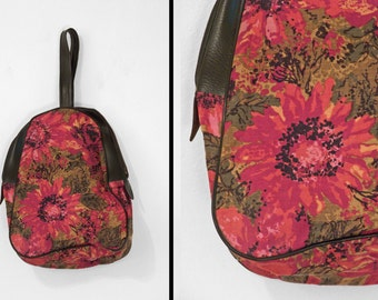 1960s Floral Pouch // SWING Purse Tote Satchel Carryall // Red Olive Green