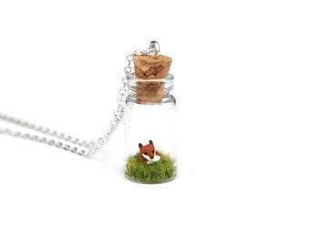 Fox Jar Necklace, Spring Terrarium Necklace, Miniature Spring Fox - a miniature clay fox sat in a tiny glass bottle