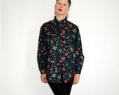 Beautiful Black With Floral Print Button Up Long Sleeved Hipster Shirt