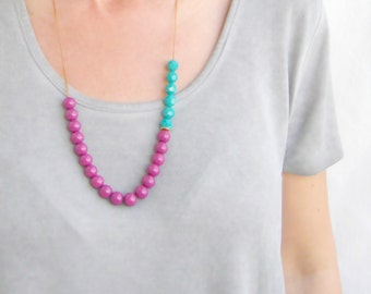 Purple And Mint Necklace, Beaded Necklace, Long, Adjustable, Statement, Glass, Faceted, Boho