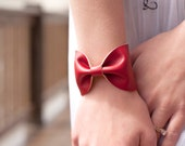 Red Bow Bracelet Cuff, Wide BowTie Bow Tie Bracelet Red Faux Leather, Womens Cuffs Gift, Mom Wife Girlfriend, Doctor Who, Tattoo Covers Up