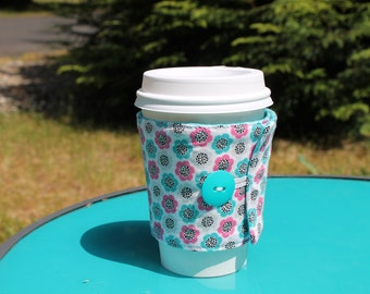 Fabric Coffee Cozy, Pink, Teal, Black and White Floral, Fits Starbucks cup, Iced Coffee, Coffee Sleeve, Cotton, Eco Friendly, MUG