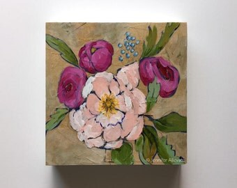 Original floral botanical painting pink flower wall art - A Bouquet for Shayla