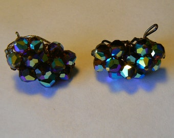 Glamorous Vintage Wingback Aurora Borealis Beaded Earrings - Clip Ons of a Different Sort (J-15-448)