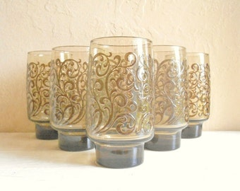 Set of 6 Talll Brown Smoke Glass Swirl Mid-Century Drinking Glasses Tumblers