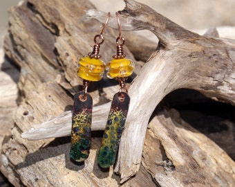 Iridescent--Rustic Copper Enameled Charm Earrings--Earthy Boho 582