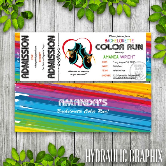Bachelorette Ticket Invitation for 5K Color Run, Printable Couples Shower Ticket, 5K ...