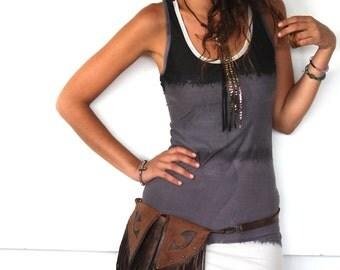 brown leather bag, leather hip belt, utility belt, Fringe leather pouch, travel hip bag, urban nomadic accessory