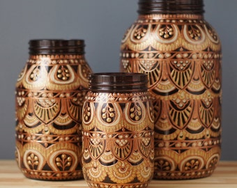 Tribal Pattern Painted Glass Mason Jar Set- Dark Amber Glass with Gold, Copper, and Cream Detailing