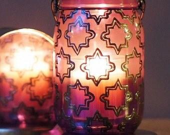 Mason Jar Lantern, Bohemian Hanging Candle Jar, Royal Purple Painted Mason Jar With Moroccan Tile Inspired Pattern, Moroccan Lantern