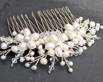 Pearl bridal hair comb, bridal accessory, wedding hair,natural pearl hair piece, white,ivory,silver,