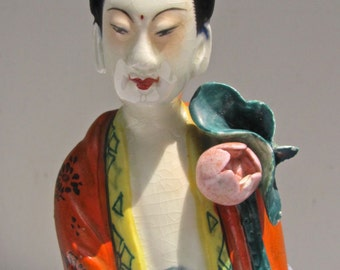 Antique Japanese Goddess Figurine, Bosatsu Goddess, Buddhist Goddess, with Bindi Dot, Handpainted, Lotus Blossoms
