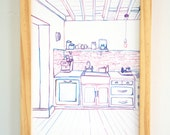 Handpainted Watercolor Illustration Art 9 x 12 in Wall Art Kitchen Design