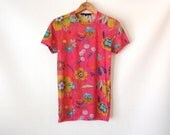 90s Sheer Gucci Top / Sheer Mesh Shirt / Bright Pink Floral Print Top / Gucci Floral Tee / Short Sleeve T-Shirt / Stretchy Tee / Small XS